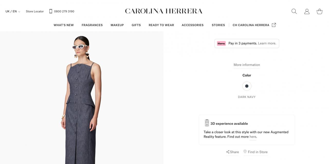 在新的电子商务WebAR体验中,从CarolinaHerrera的豪华服装系列中发现本季的必备款式
